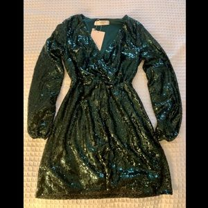Outrageous Fortune Sequin Wrap Dress NWT